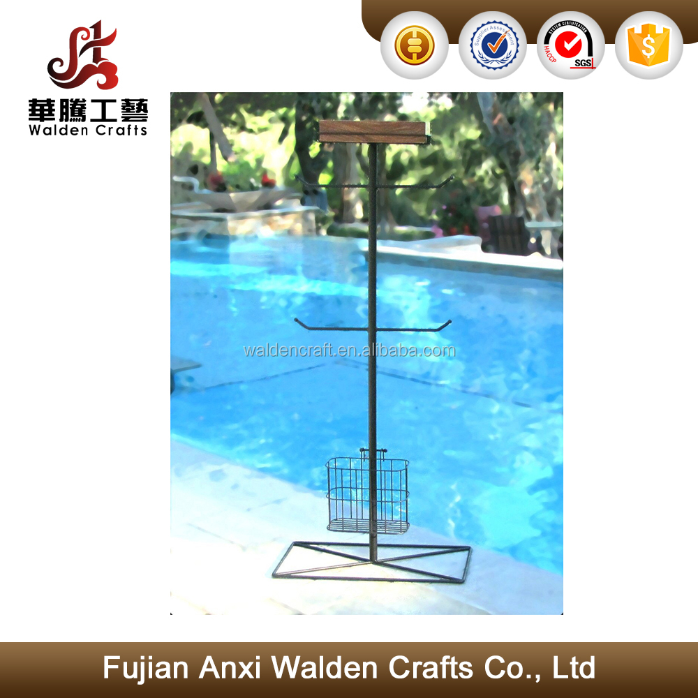 Outdoor Pool Towel Rack With Wooden Shelf And Wire Basket - Buy ...