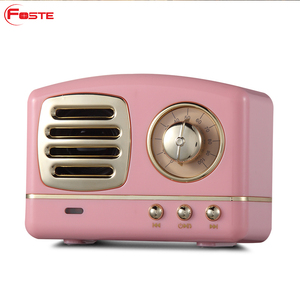 high sound quality Retro Style TV Shape FM radio mini outdoor portable wireless bluetooth speaker with TF card/handsfree call