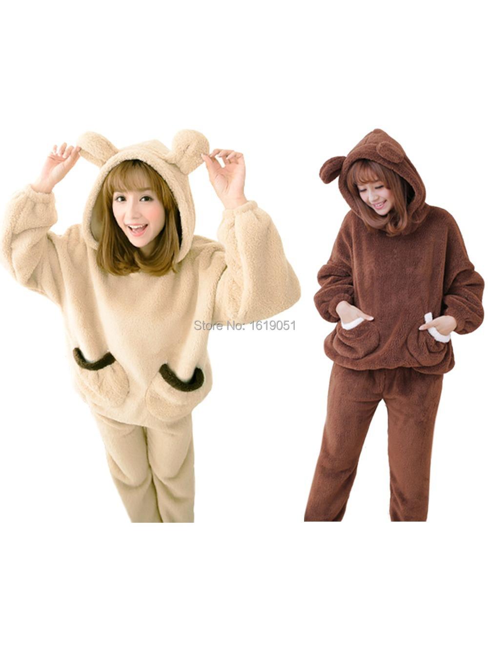 888f4f5536a Get Quotations · Adult warm winter Women Cute Cartoon Bear Coral Fleece  Long Sleeve Hooded Sleepsuit Homewear Lounge Wear