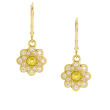 New Design Yellow CZ Beautiful Moonflower 925 Sterling Silver Earrings Jewelry