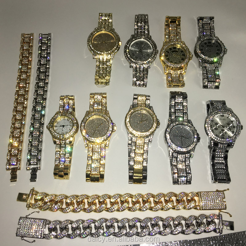 DAICY wholesale hot sale hiphop iced out mens full diamond bling bling heavy watches