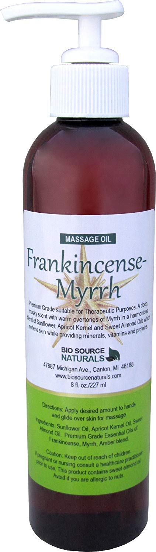 Frankincense-Myrrh Massage Oil / Body Oil 8 fl. oz with All Natural Plant Oils