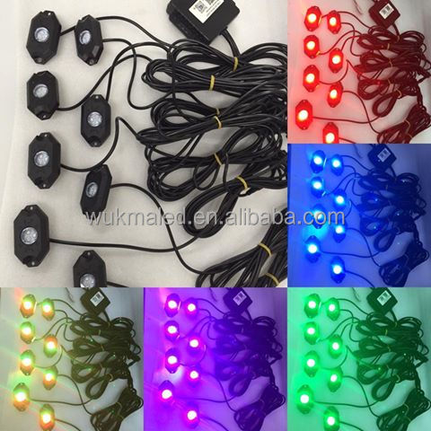 Multi-color RGB LED Rock Lights - RGB LED Rock Light with Bluetooth RGB Controller Under Vehicle Cars Interior and Exterior