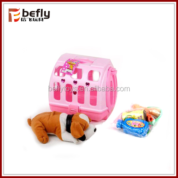 Kids pretend play plush toy dog
