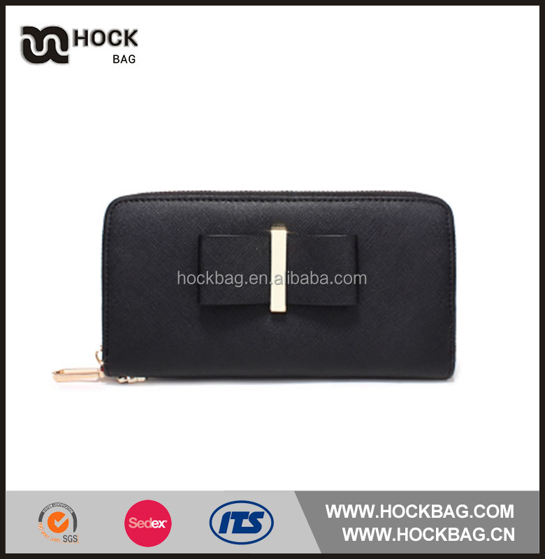 2017 Hot selling black ladies wallet purse/Women long wallet with zipper/ladies hand purse