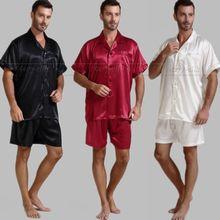 font b Mens b font Silk Satin Pajamas Pajama font b Pyjamas b font Short
