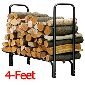 Sturdy Heavy Duty Steel 4-ft Outdoor Firewood Log Rack Keep Your Firewood Neat, Clean and Dry