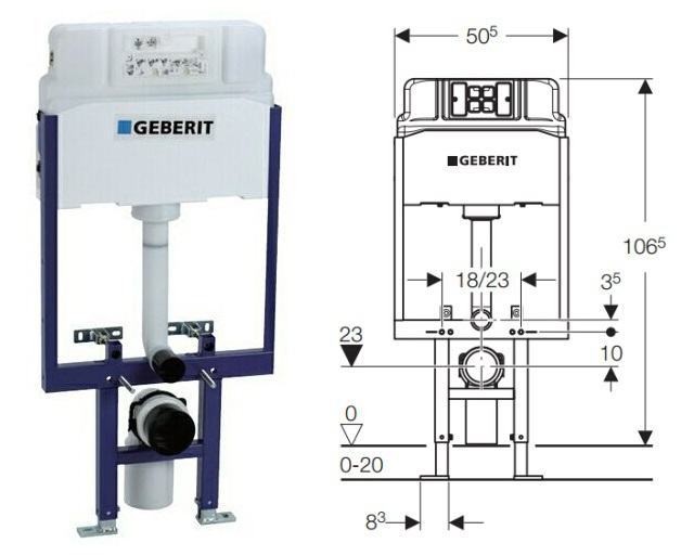 Geberit alpha duofix in wall cistern watermark concealed cistern for wall hung toilet dual flush for Geberit tank