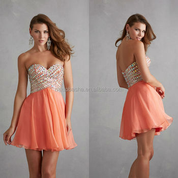 Top Rated 2014 Coral Chiffon Sweetheart Mini A Line Prom Dresses