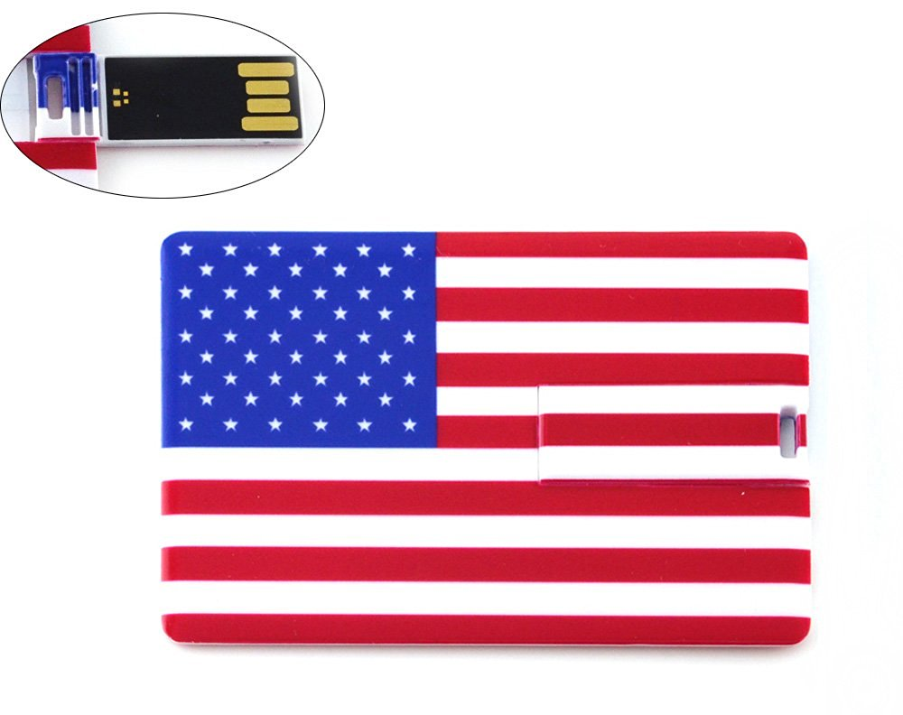 32GB Credit Card Shape USB Flash Drive with American Flag Pattern