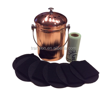 1-1.5 Gallon Kitchen Compost Pail Bin For Countertop Seamless Leakproof  Stainless Steel With Genuine Copper Plating With Filters - Buy Copper  Compost ...