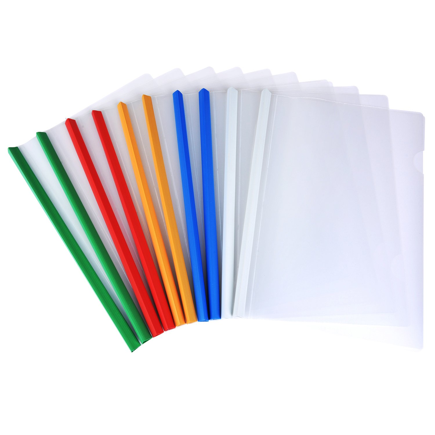 Shappy 10 Pieces Transparent File Folder Sliding Bar Report Covers for A4 Report Display Cover Organizer Binder, 5 Color