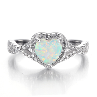 2018 Shaped Sterling Silver Platinum Opal Ring with Clear Zircon for Women