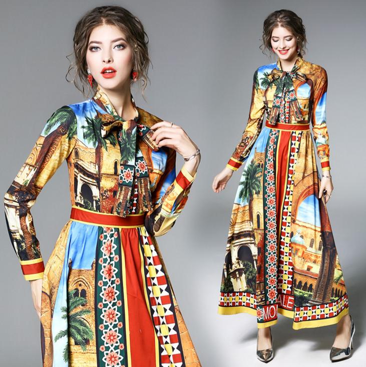 WE1595 stile Europeo delle donne eleganti manica lunga epoca abiti stampati 6852e3dd9fd