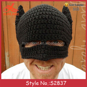 S2837 New Winter Cool Mens Crochet Cable Knit Helmet Hats Ski Face