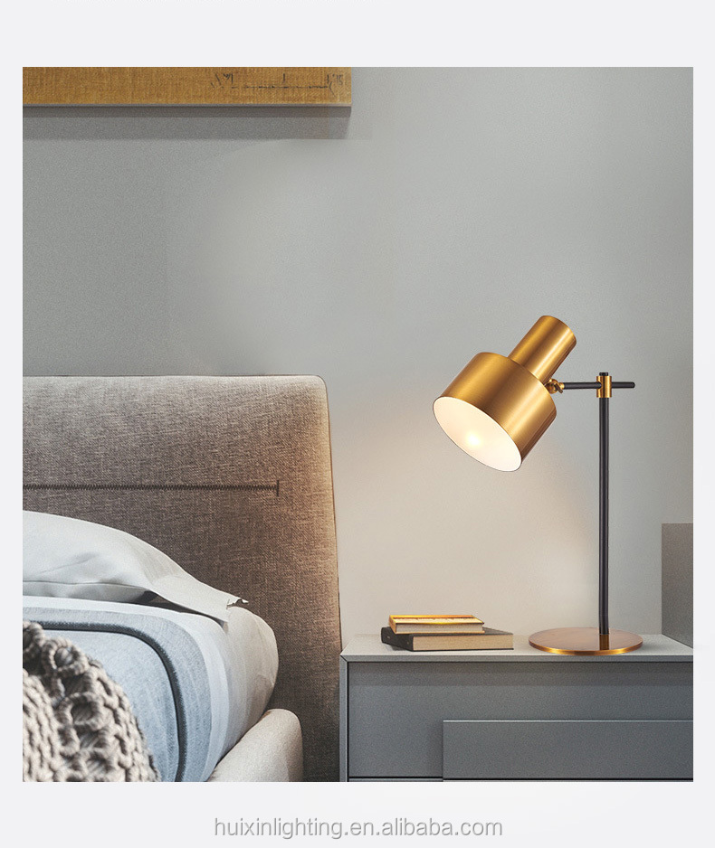 Nordic modern style golden long arm classic desk bed reading table lamp
