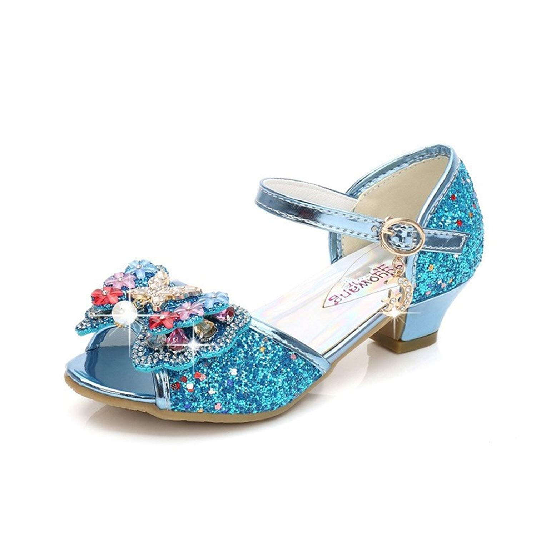 Girls Kids Sparkle Crystal Bling Open Toe Low Kitten Heel Pumps Wedding Party Shoes