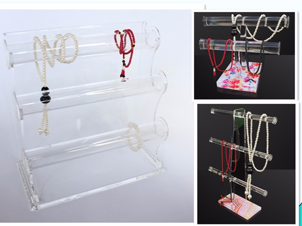 OEM Triple Bar Bangle Bracelet Holder Watch Necklace Jewelry Display Rack,3 Tiers Clear Acrylic Bracelet Display Stand Wholesale