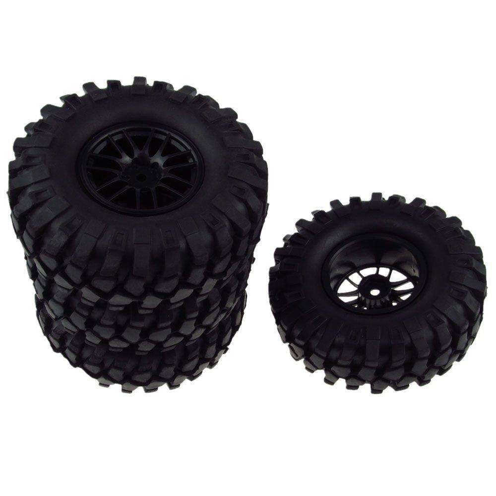 JIUWU 4PCS 1/10 Racing Climbing 108mm Tyre RC Tires & Double 7 Wheels for Rock Crawler Black