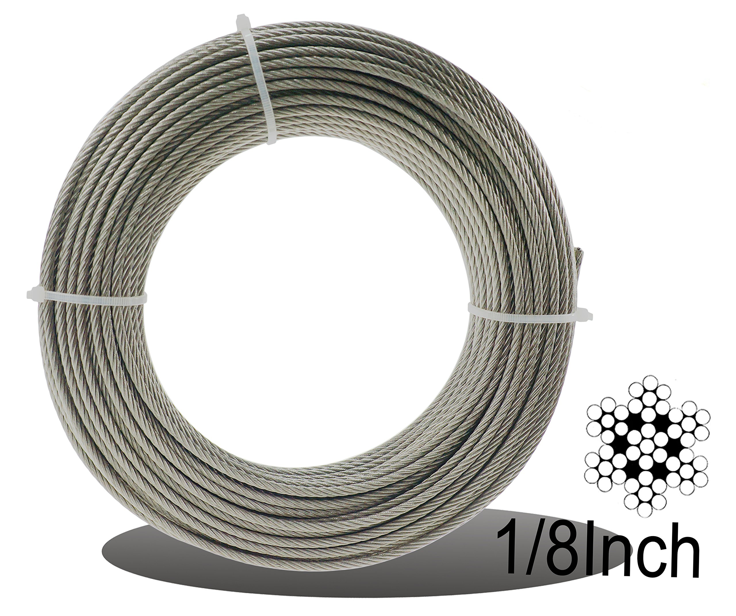 Get Quotations · Muzata Stainless Aircraft Steel Wire Rope Cable For Railing Decking DIY Balustrade 1