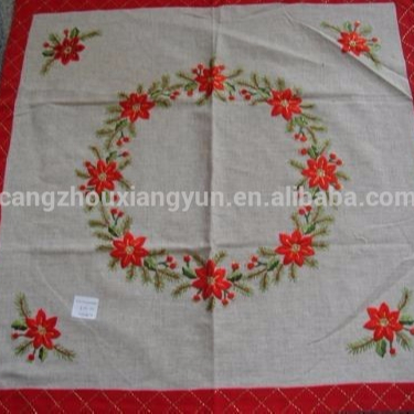 New design fashion cutwork Crewel Embroidery hand made table cloth with lace