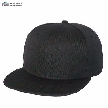 plain blank black 100% acrylic flat brim bill hip hop Snap back sports caps  hats a9a63435d73