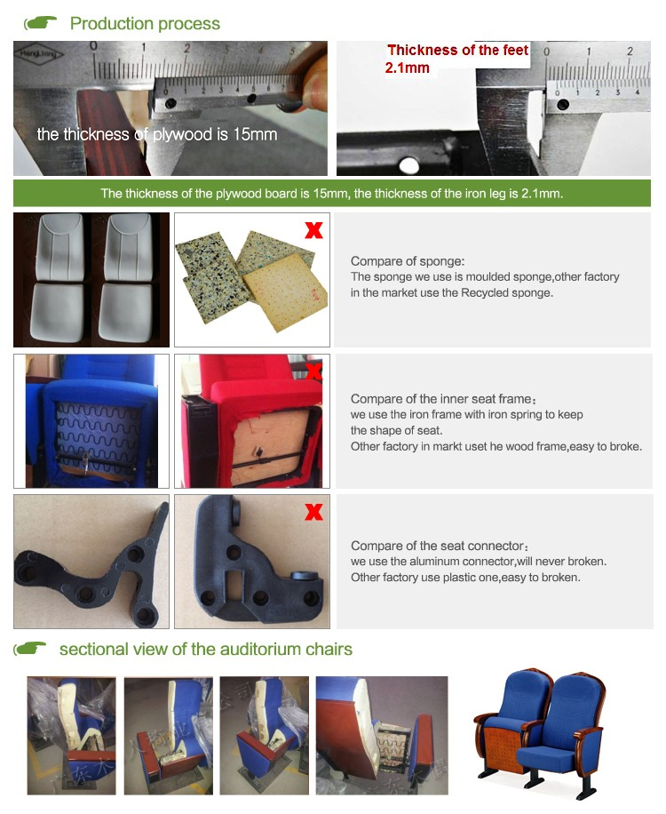 durable fabric auditorium chair seat with table AW-14