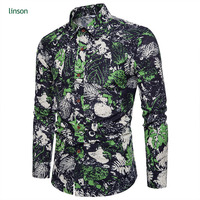 Wholesale Men's Casual Slim Fit Long Sleeve Printed Dress Shirt Formal Shirts Tops