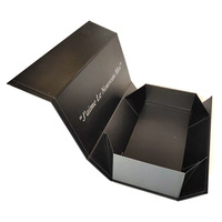 Hair extension custom luxury black with magnetic flap closure rigid folding gift box foldable cardboard shoe packaging