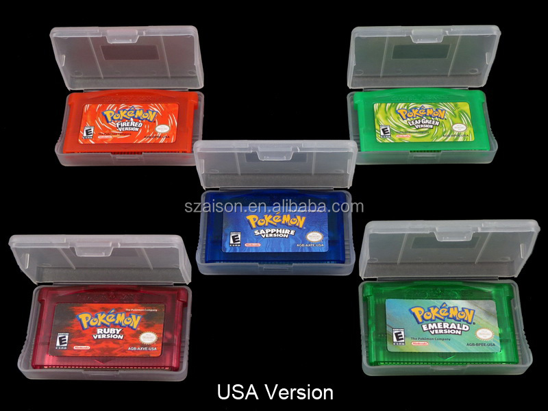 Free Shipping for GBA SP Games Pokemon Games: emerald, fire red, leaf green, ruby, sapphire