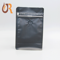 Stock Available Black Matte Surface Flat Bottom Coffee Bag with Valve