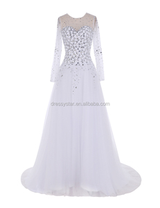 Latest cheap wholesale white A line wedding dress with long sleeves
