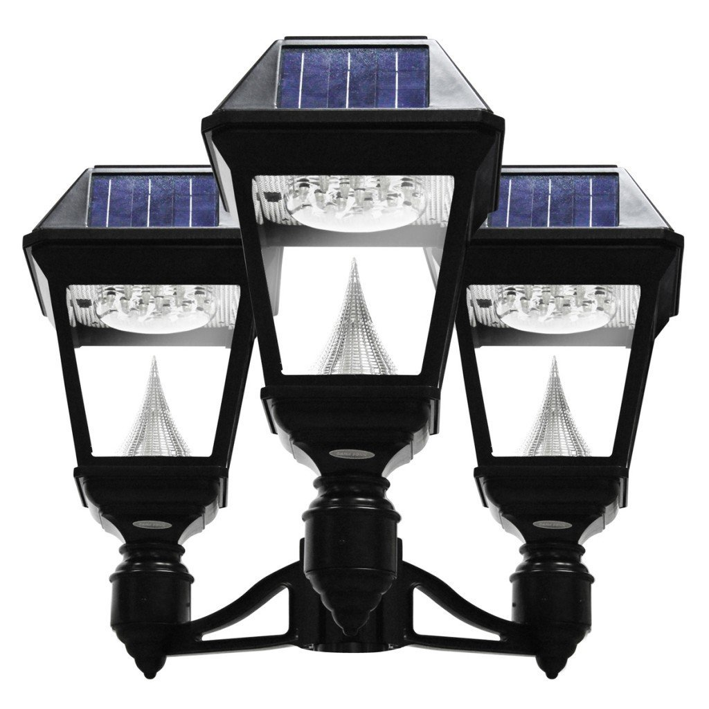 "Gama Sonic GS-97NF3 Solar Post Light, Imperial II Triple Head Lantern w/3"" Fitter Brackets - Black"