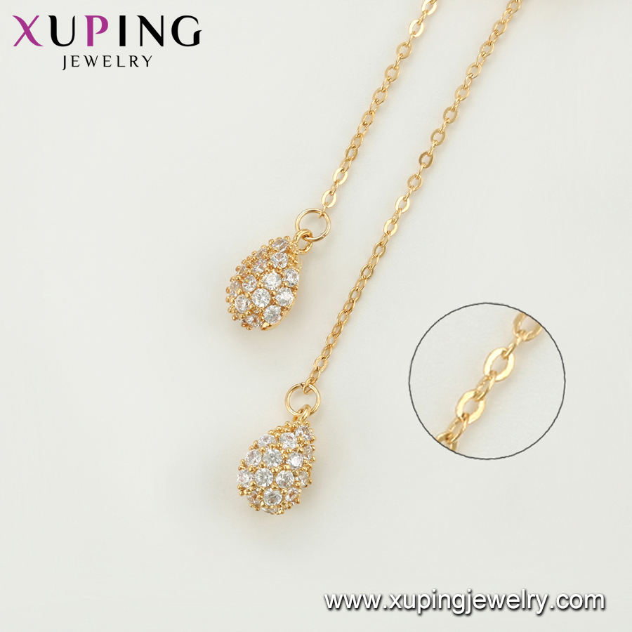 necklace-00683-Xuping fashion hollow out design pretty butterfly shape copper alloy jewelry charm pendant necklace