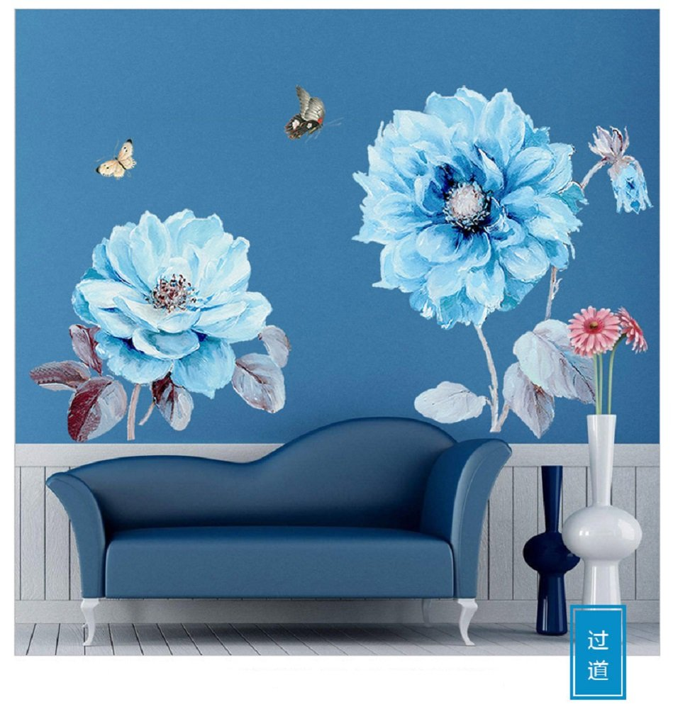 Amaonm Fashion 3D DIY Creative Blue Flowers Wall Decals Flower Vines Wall Stickers Murals Removable Decor Decal for Living Room Girls Bedroom Home Wall Decoration Nursery Room Sticker Kids Stickers