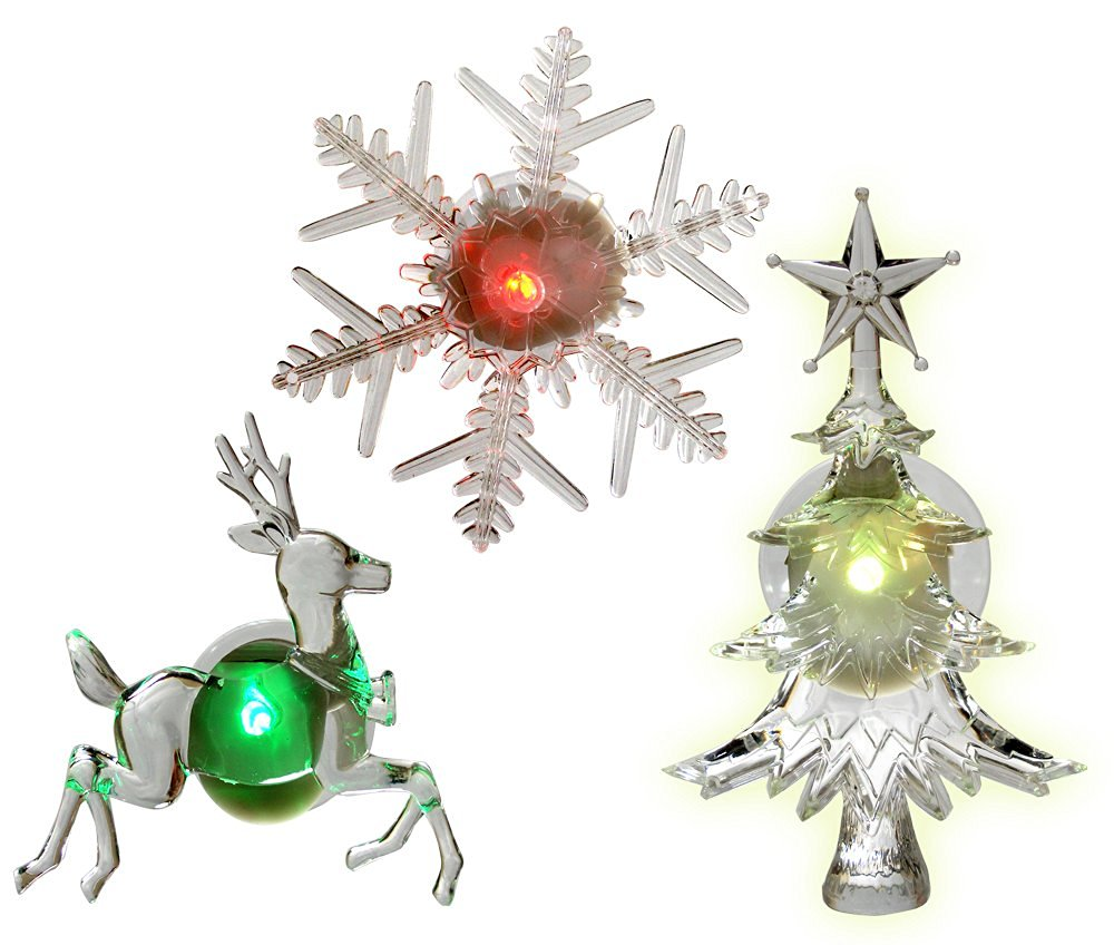 holiday window decorations assorted set of 3 reindeer christmas tree and snowflake - Battery Operated Christmas Window Decorations