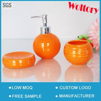 Bathroom Accessories Orange pumpkin orange ceramic bath gift set/bathroom set/bath accessories