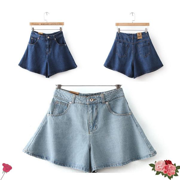8f52e12df37 Get Quotations · 2015 summer style fashion leisure falbala washed denim  shorts Corrugated Edge Short Jeans High Waist Jean