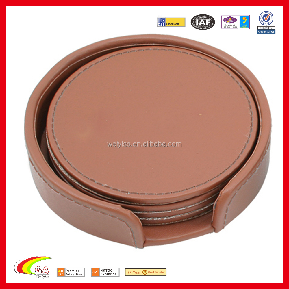 Handmade High Quality 4 Pieces PU Leather Cup Round Drink Coasters