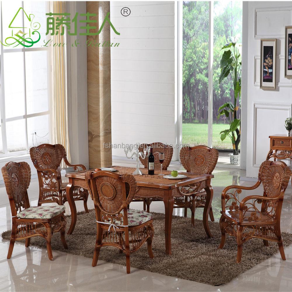 Mode china hout rieten eettafel stoel set buy product on - Woonkamer rotan voor veranda ...