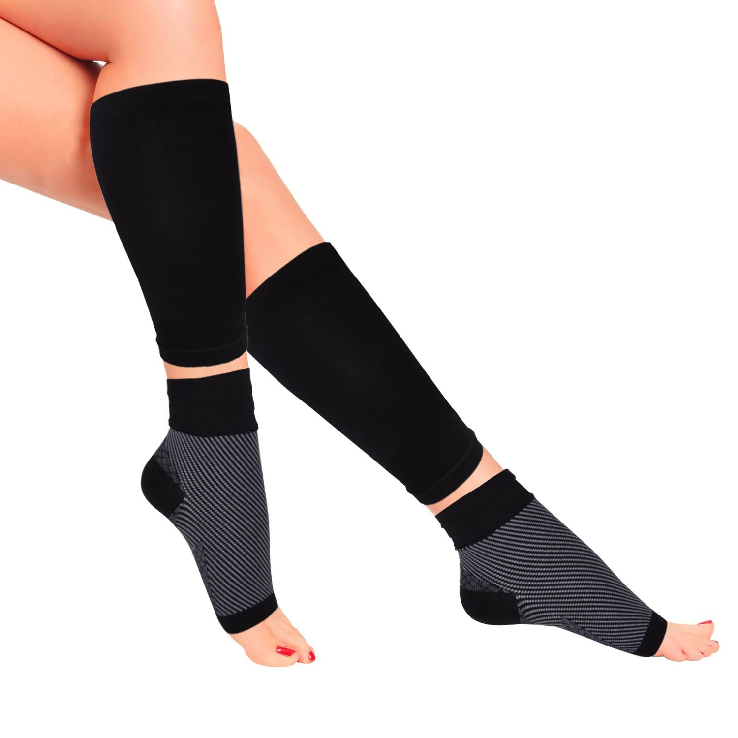 7981575860 Get Quotations · PACEARTH Plantar Fasciitis Socks & Calf Compression Sleeves  Functional Socks Calf Sports Sleeves Eases Swelling Heel