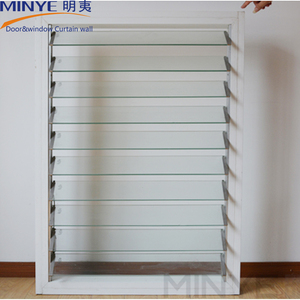 Louver design aluminum glass shutter glass jalousie with opener