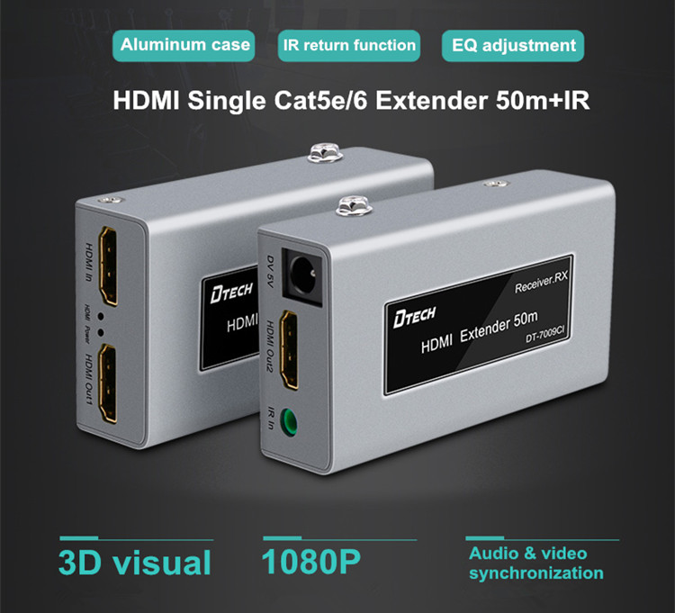 Factory Price HD 3D 1080P 30m 50m 60m Over Single Cat5e Cat6 Ethernet Cable With Ir Hdmi Extender