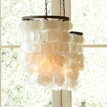 Couverte Cru Seule Lumiere Shell Pendentif Lampe Couloir P6126 1