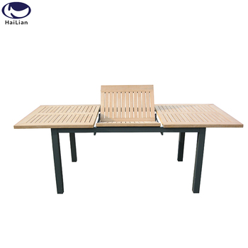 Aluminum Frame Funiture Extendable Coffee Dining Table For Garden