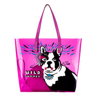 2014 wholesale funky waterproof cartoon pvc tote beach bag ,with a smaller bag in it