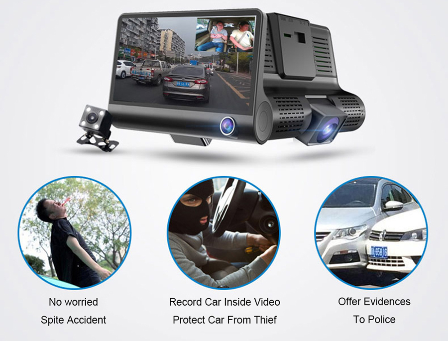 WDR HD Car Dvr user manual 3 hidden Cameras Lens 4.0 Inch Dash Camera Dual Lens With Rearview Camera Video Recorder