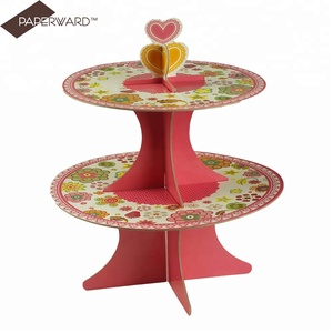 Birthday wedding paper display pop disposable 2 tier cake stand for easy to assemble and carry
