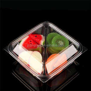 4 compartment biodegradable blister fruit food trays plastic salad box