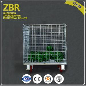 China Folding Storage Mesh Roller Stackable Container Metal Wire Cage with Wheels